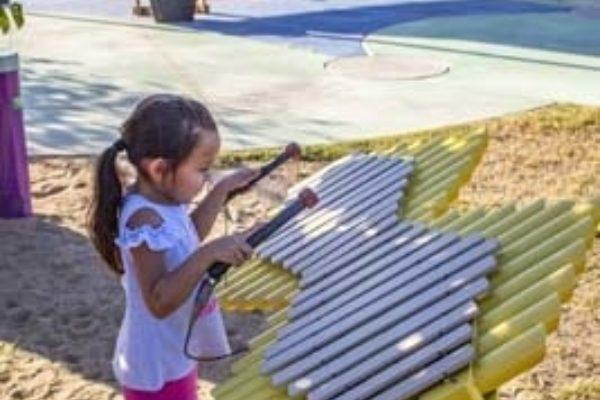 Girl playing Imbarimba in California