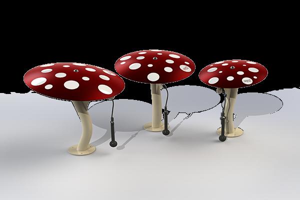 Rendering of three Mushrooms in the Ensemble